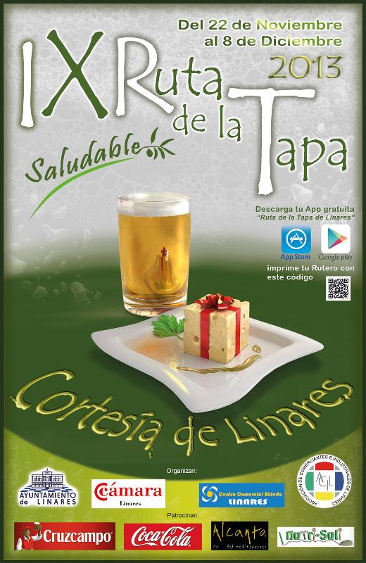 Cartel de la IX Ruta de la Tapa Saludable de Linares, del 22 de noviembre al 8 de diciembre de 2013