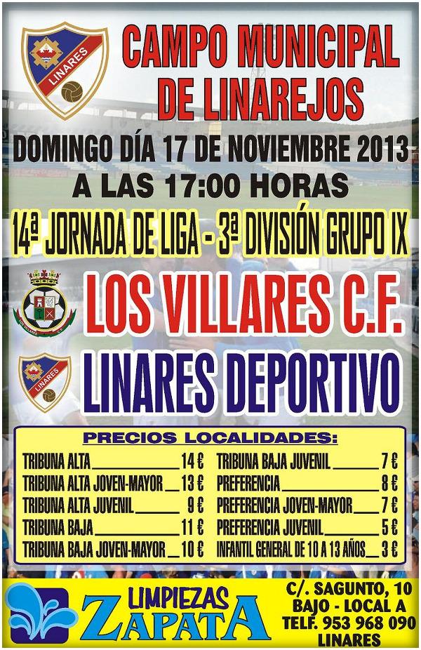 Cartel oficial del Partido Linares Deportivo - Los VillaresCF