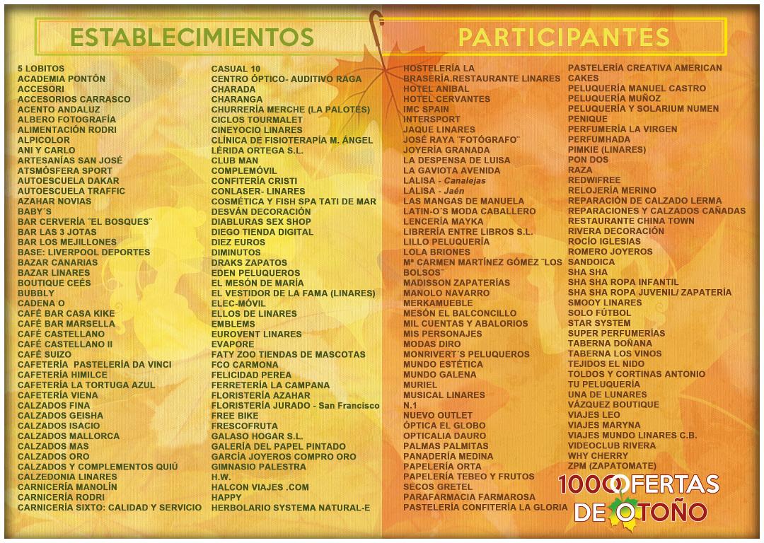 Establecimientos participantes en la campaña  Mil Ofertas De Otoño - Linares, 15 de noviembre de 2013