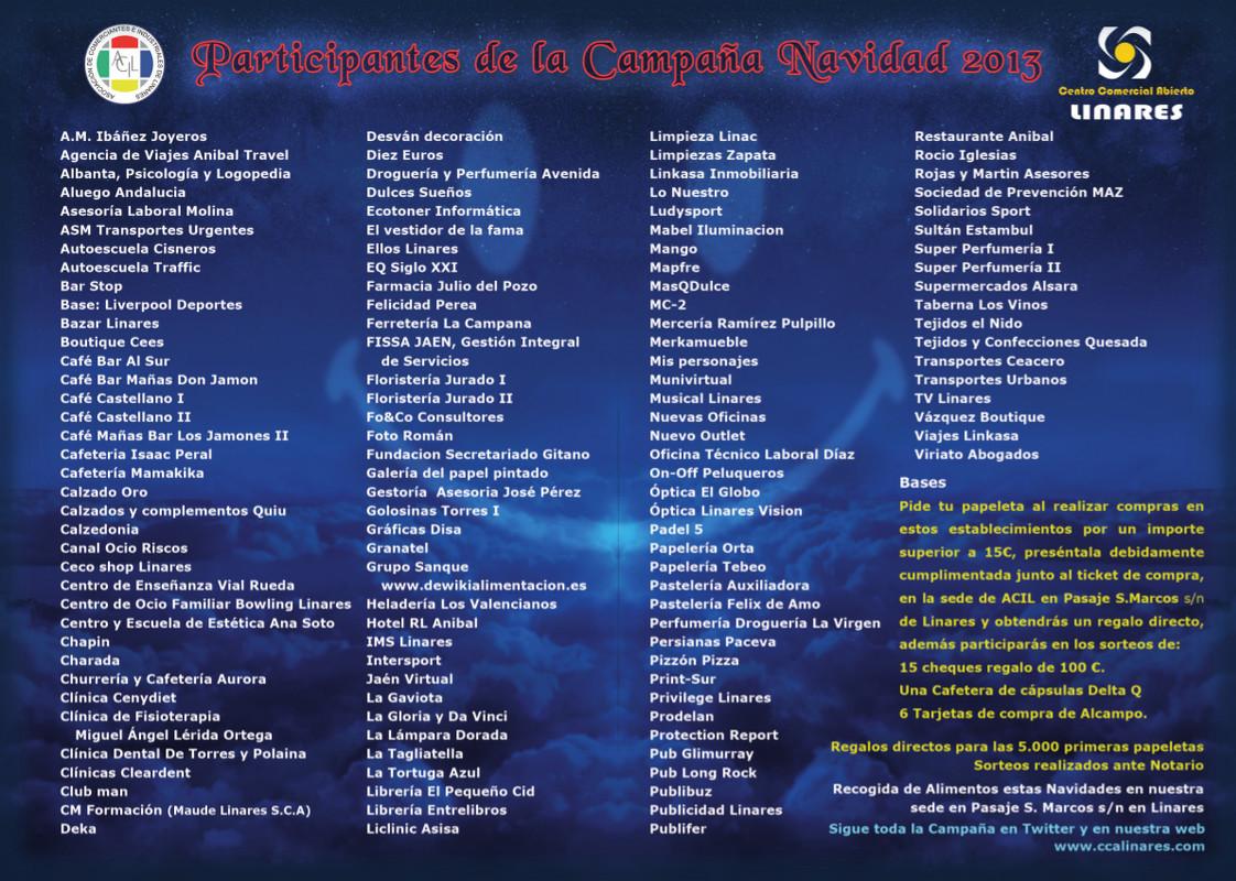 """Participantes Campaña Navidad 2013 - Centro Comercial Abierto - Linares - """"Sonríe... es Navidad"""""""