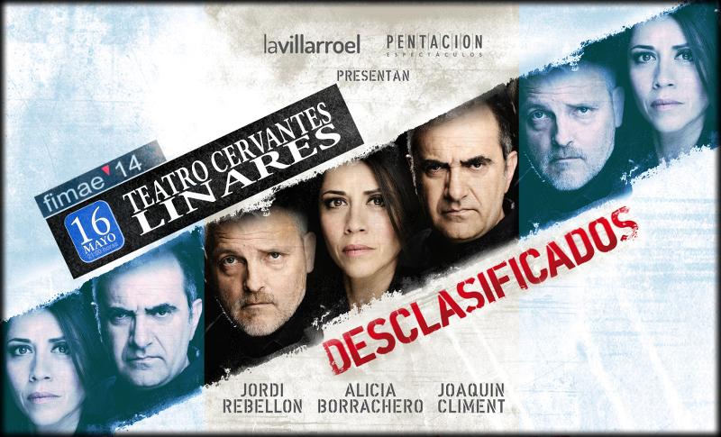 La obra Desclasificados, en el Teatro Cervantes de Linares, el 16 de mayo de 2014