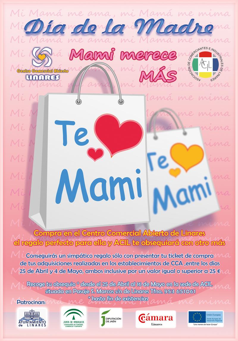 Cartel de la campaña del Día de la Madre en el Centro Comercial Abierto de Linares