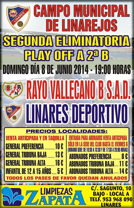 cartel oficial playoff a 2ª B ... Linares Deportivo - Rayo Vallecano B