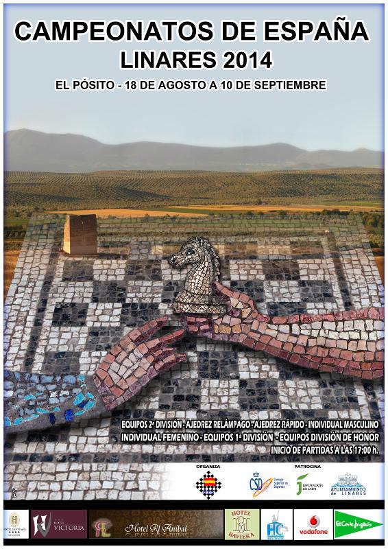 cartel campeonatos de España de ajedrez en Linares del 18 de agosto al 10 de septiembre de 2014