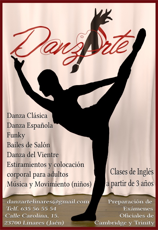 cartel Danzarte Linares. Escuela de Danza, Música, Artes, e Idiomas - Clave diseño