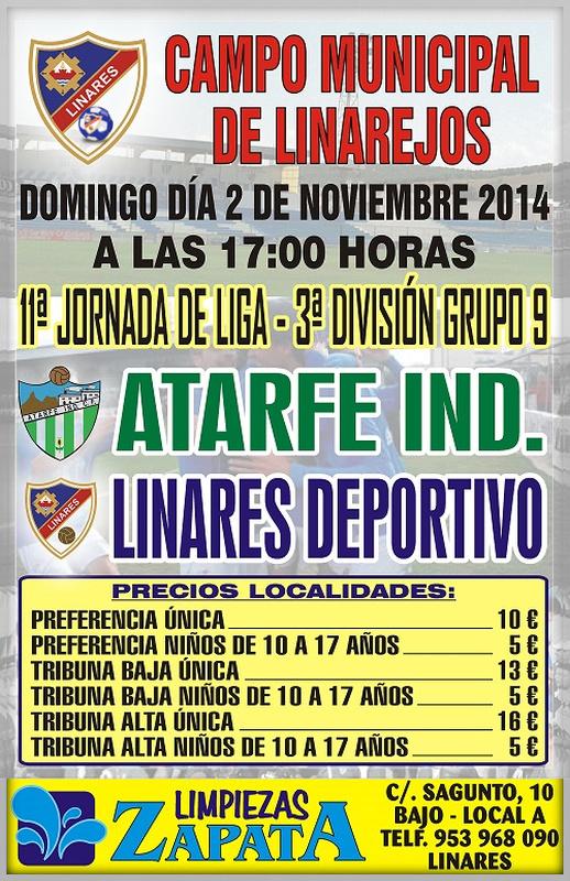 cartel del partido Linares Deportivo - Atarfe Industrial CF. en el Linarejos.
