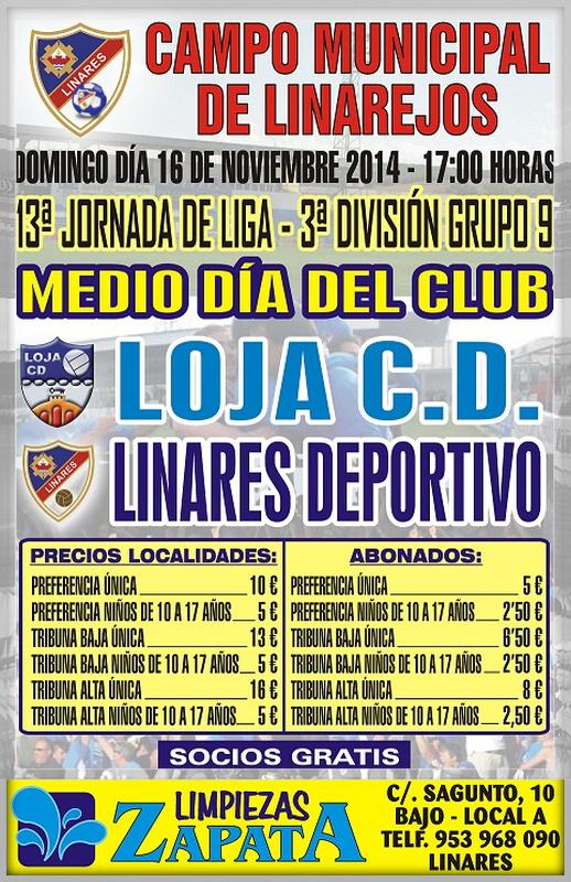 cartel del partido Linares Deportivo - Loja CD. en el Linarejos.