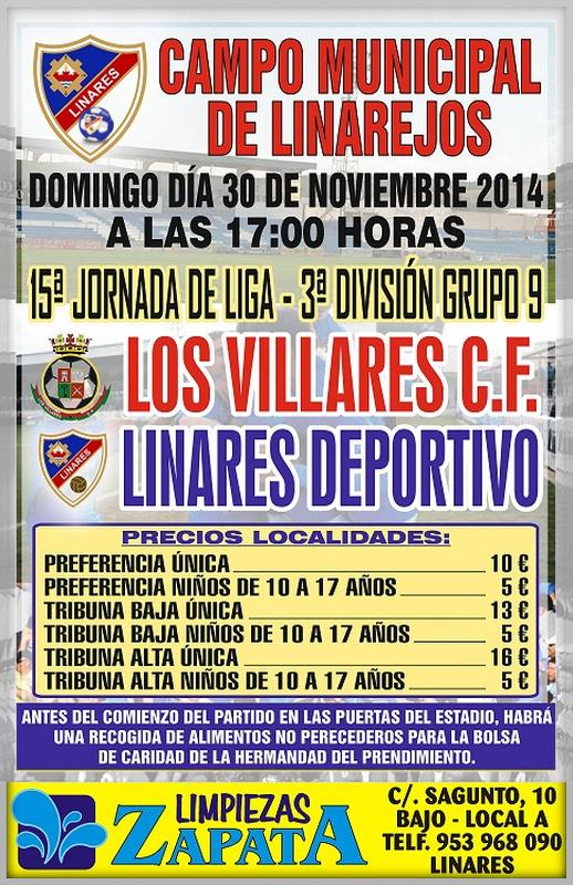 cartel del partido Linares Deportivo - Los Villares CF. en el Linarejos.