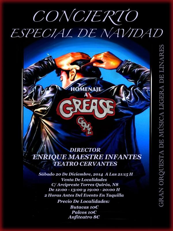 cartel del concierto especial de navidad Homenaje a Grease de la Gran Orquesta de Música Ligera de Linares