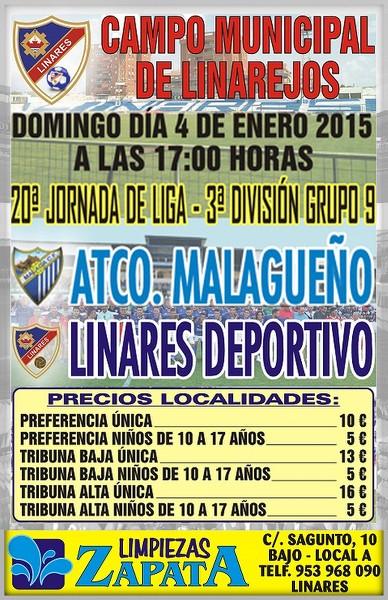 cartel partido Linares Deportivo - Atlético Malagueño