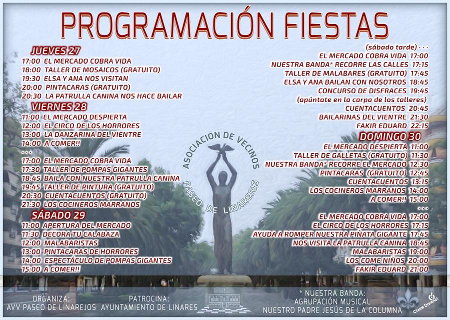 Programación de las Fiestas en el Paseo de Linarejos, del 27 al 30 de octubre de 2016