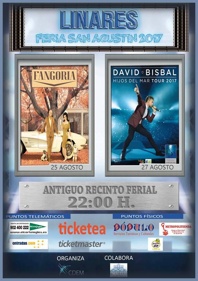 cartel conciertos Feria de San Agustín 2017 - Antiguo Recinto Ferial - Linares