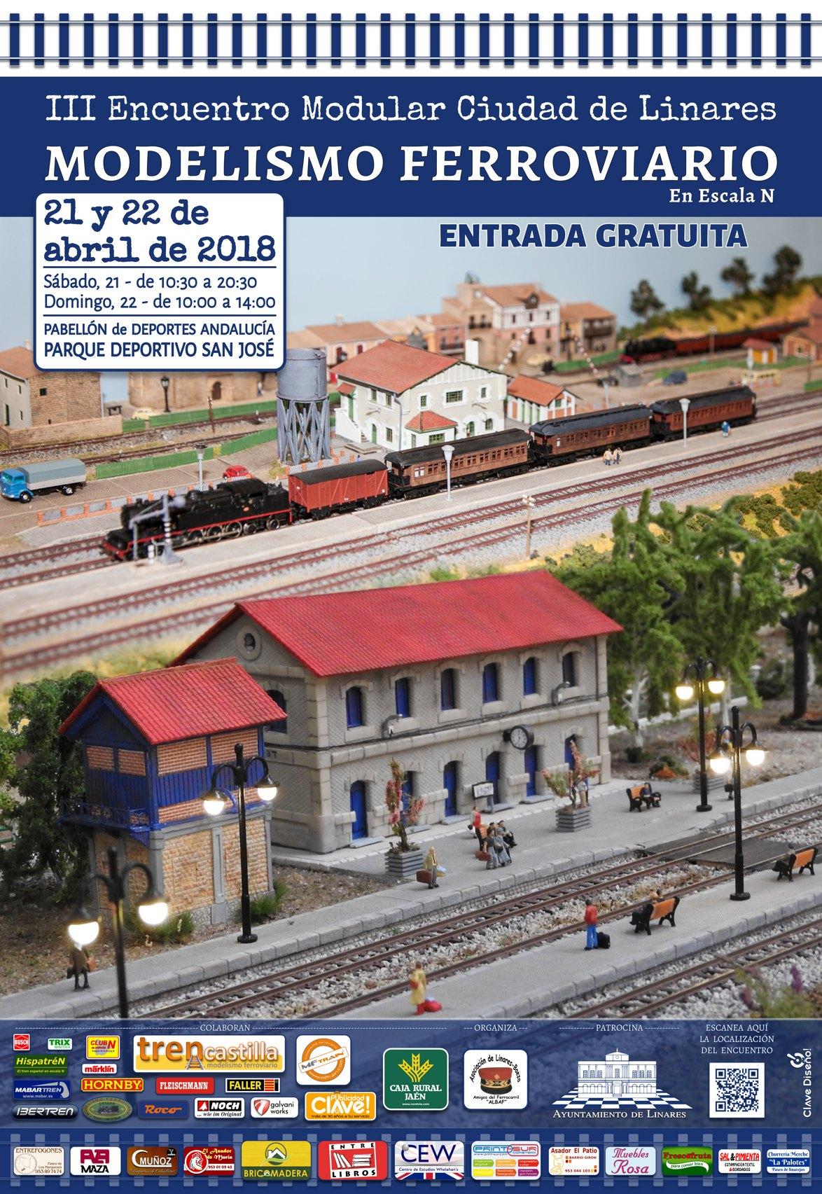 cartel del III Encuentro de modelismo ferroviario modular Ciudad de Linares, diseñado por Publicidad Clave 3Diseño