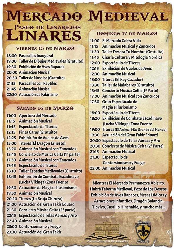 Programación Actividades Mercado Medieval en Linares del 15 al 19 de Marzo, en el Paseo de Linarejos