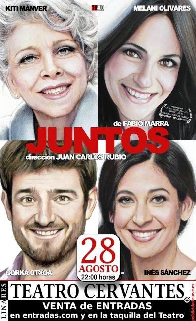 """cartel de la obra """"Juntos"""" para el 28 de agosto de 2019 en el Teatro Cervantes de Linares"""