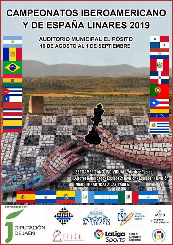 Cartel de los Campeonatos Iberoamericano y de España de Ajedrez Linares 2019