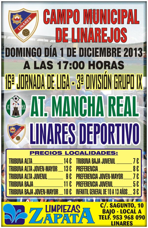Cartel oficial partido Linares Deportivo - Atlético Mancha Real - 1dic2013
