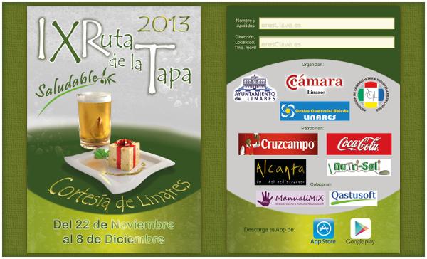 Portada IX Ruta de la Tapa Saludable de Linares 22 de noviembre al 8 de diciembre de 2013