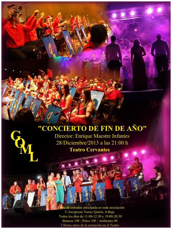 Cartel del concierto de fin de año de la Gran Orquesta de Música Ligera de Linares