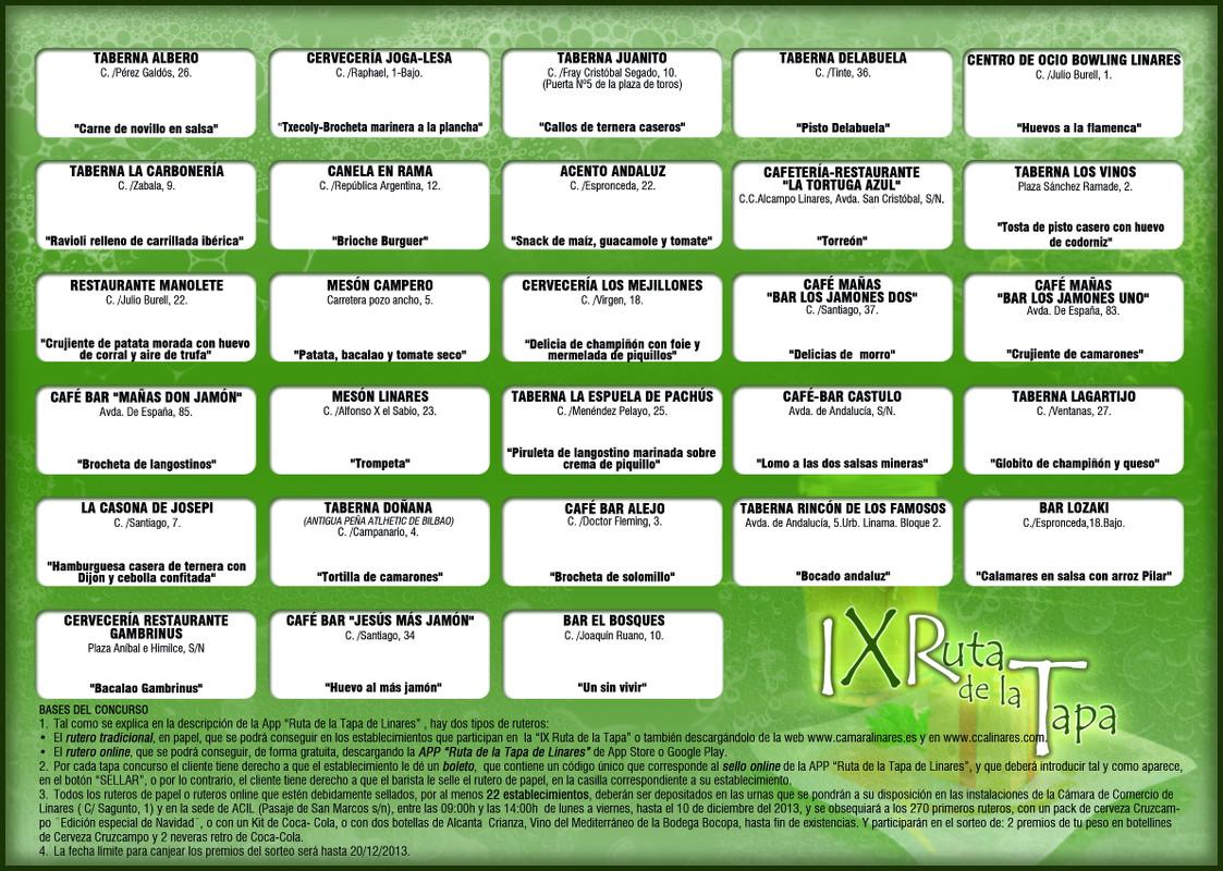 Rutero de la IX Ruta de la Tapa Saludable de Linares 22 de noviembre al 8 de diciembre de 2013