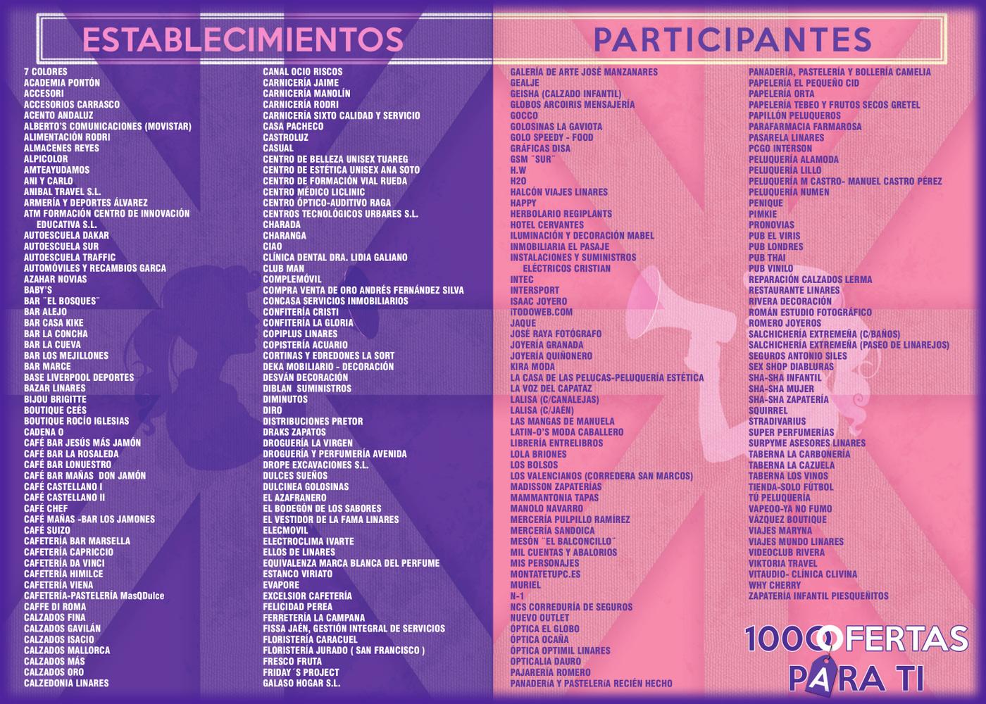 Establecimientos participantes en la promoción 1000 Ofertas de Primavera en Linares