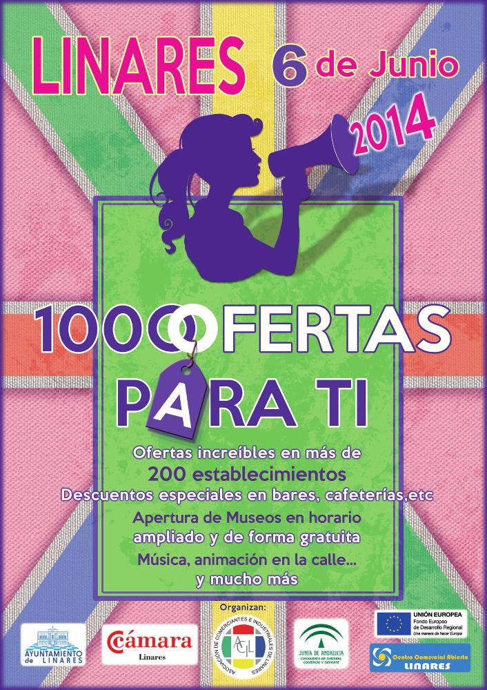 cartel de la promoción 1000 Ofertas de Primavera de Linares - 6 de junio de 2014