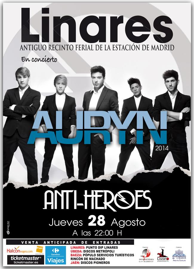 cartel oficial concierto Auryn - Feria de San Agustín - Linares 2014
