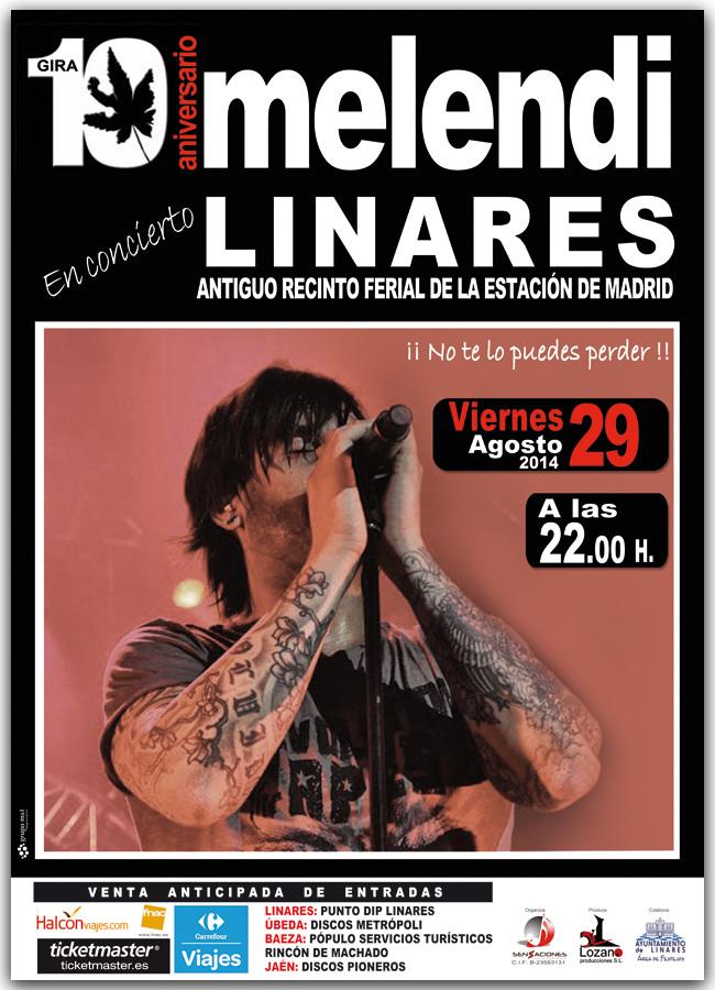 cartel oficial concierto Melendi - Feria de San Agustín - Linares 2014