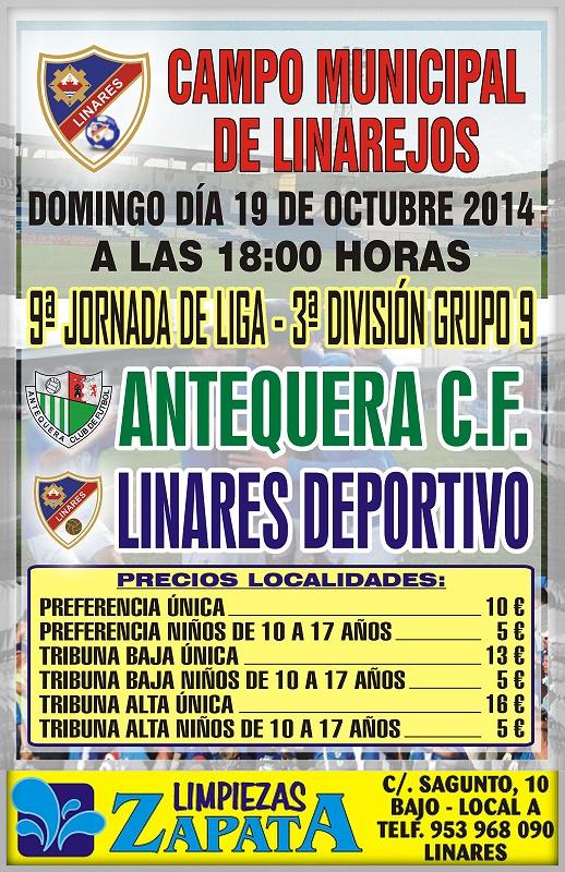 cartel del partido Linares Deportivo - Antequera CF. en el Linarejos.