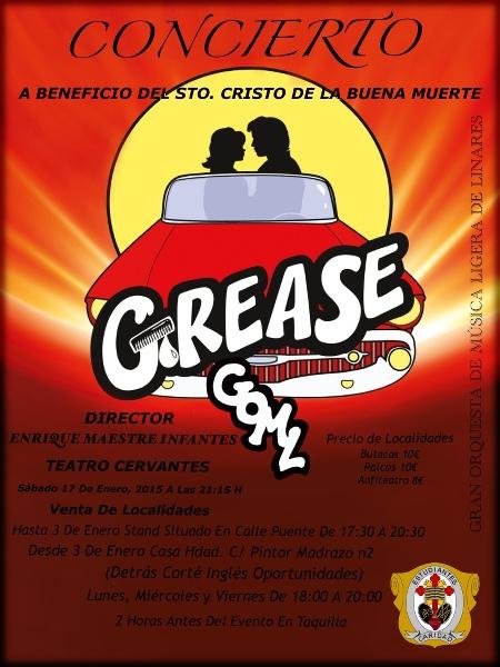 cartel de Grease en el Teatro Cervantes de Linares