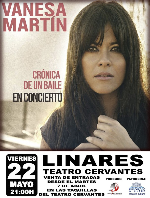 cartel del concierto de Vanesa Martín en el Cervantes de Linares el 22 de mayo de 2015