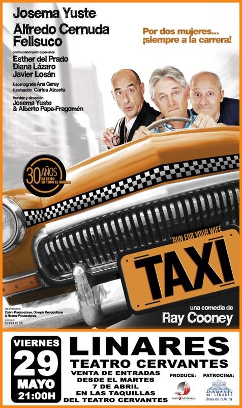 cartel de la obra de teatro Taxi, con Josema Yuste, Alfredo Cernuda y Felisuco
