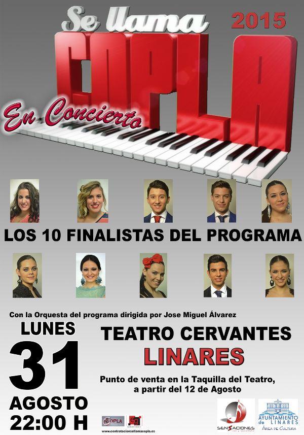 cartel del Concierto de los 10 finalistas de Se llama copla 2015 en el Teatro Cervantes de Linares