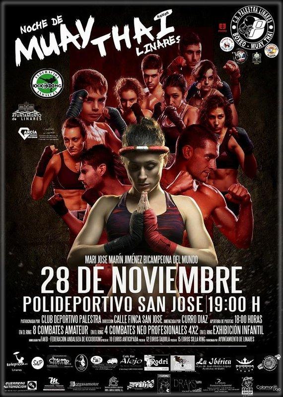 Cartel Noche Muay Thai - Linares - con Mari Jose Marín Jiménez