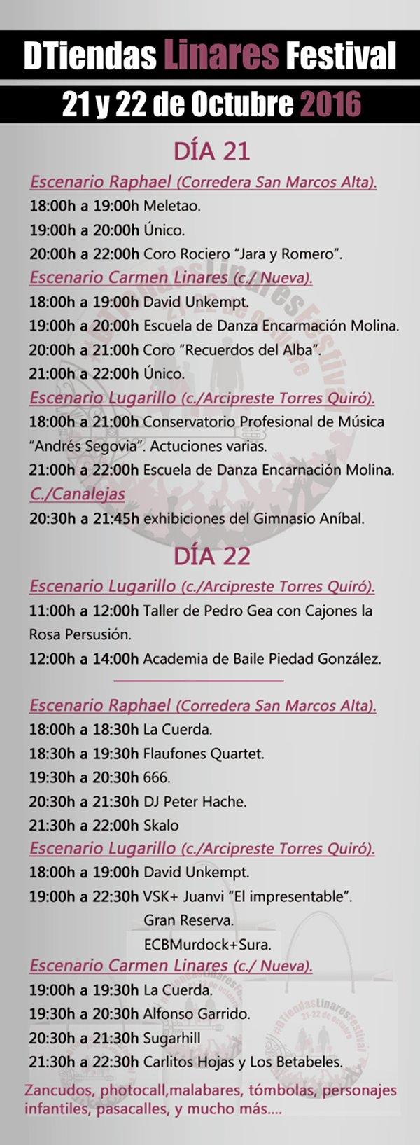 programación del DTiendas Linares Festival