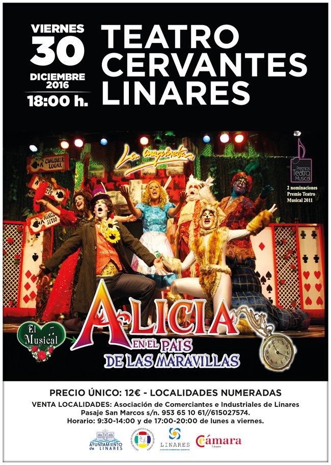 Cartel del Musical Alicia en el país de las Maravillas en Linares