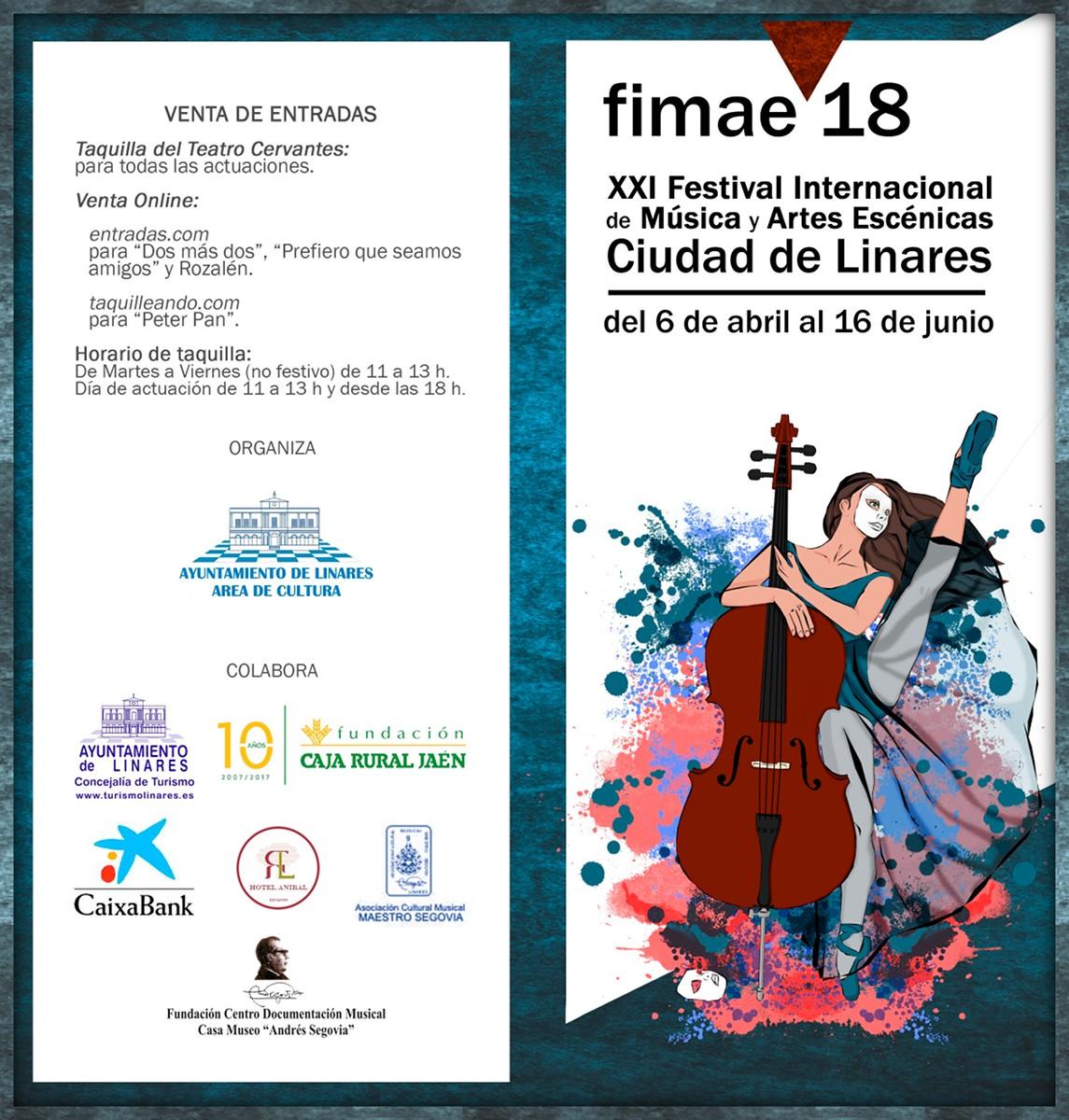 cartel - diptico del XXI Festival Internacional de Música y Artes Escénicas de Linares, Fimae'18