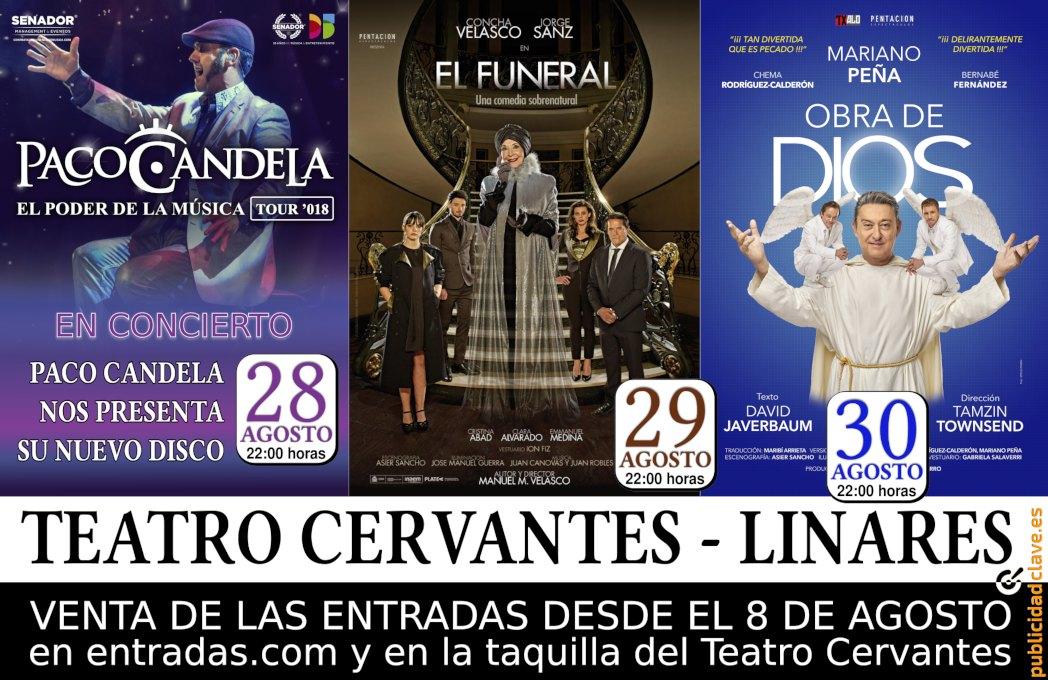 cartel de los eventos del Teatro Cervantes de Linares en su Feria 2018