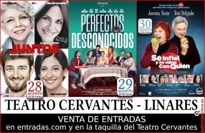 Cartel anunciador de las obras del Teatro Cervantes de Linares en la Feria de San Agustín 2019.