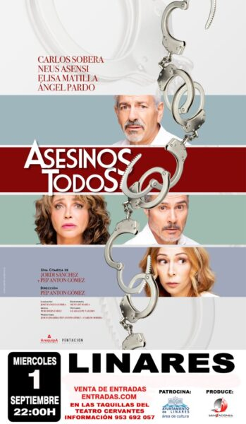 """cartel de """"Asesinos Todos"""" el 1 septiembre en el Teatro Cervantes de Linares"""