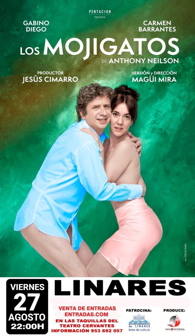 """cartel de """"Los Mojigatos"""" el 27 de agosto en el Teatro Cervantes de Linares"""